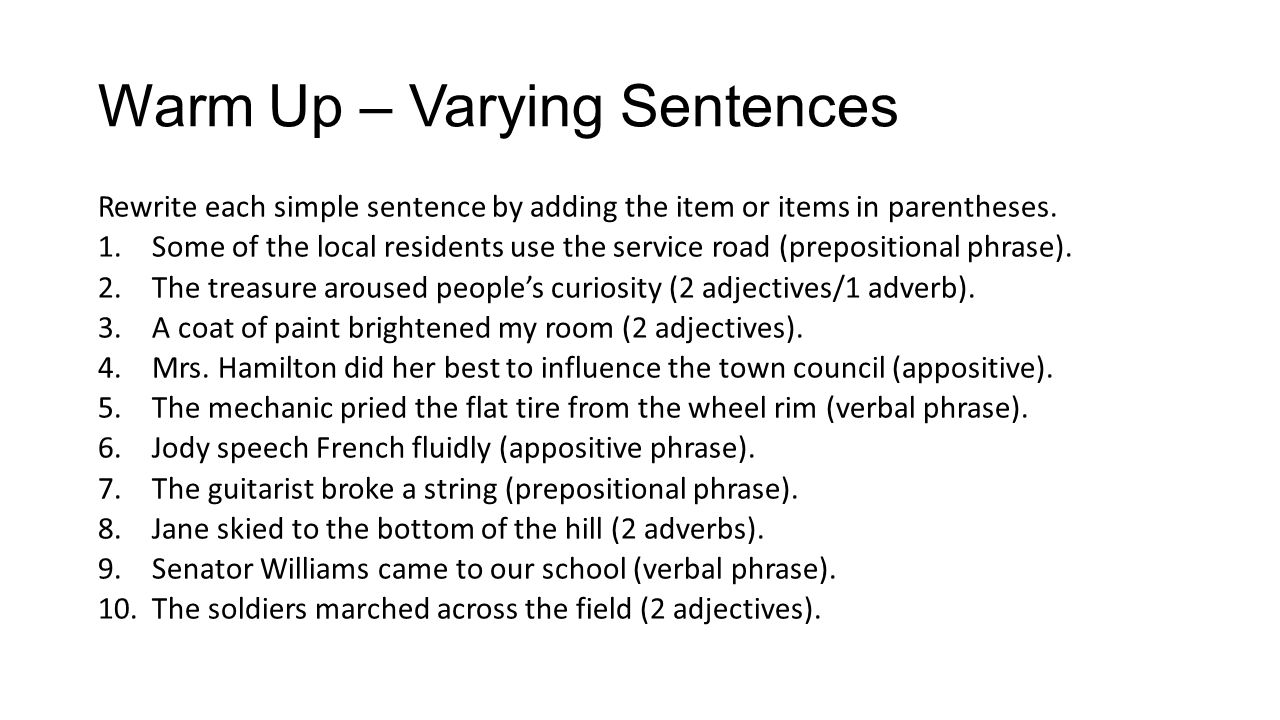 Warm Up – Varying Sentences