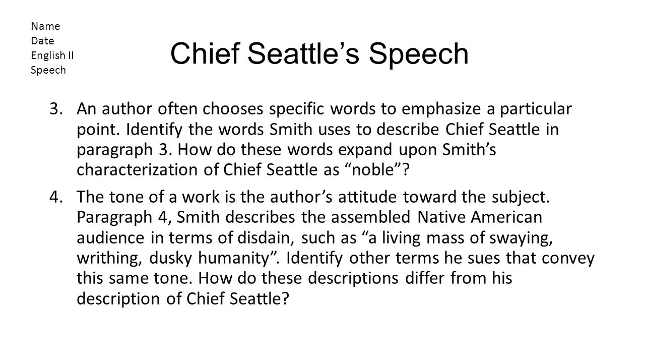 Chief Seattle's Speech