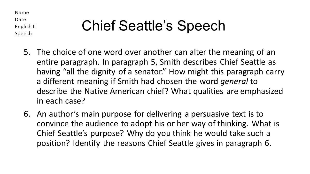 Chief Seattle's Speech