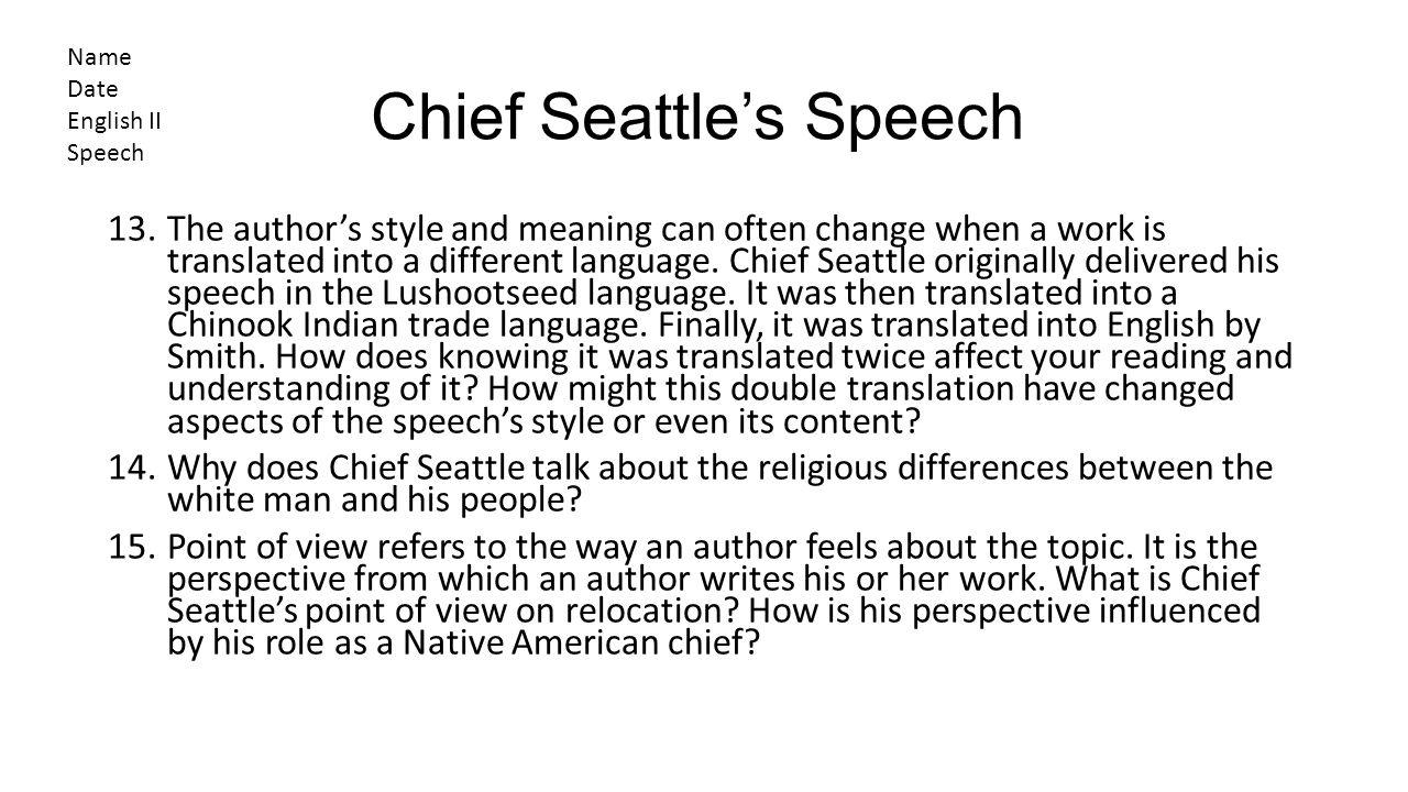 Chief Seattle Essay Sample