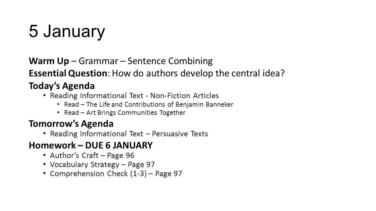 5 January Warm Up – Grammar – Sentence Combining