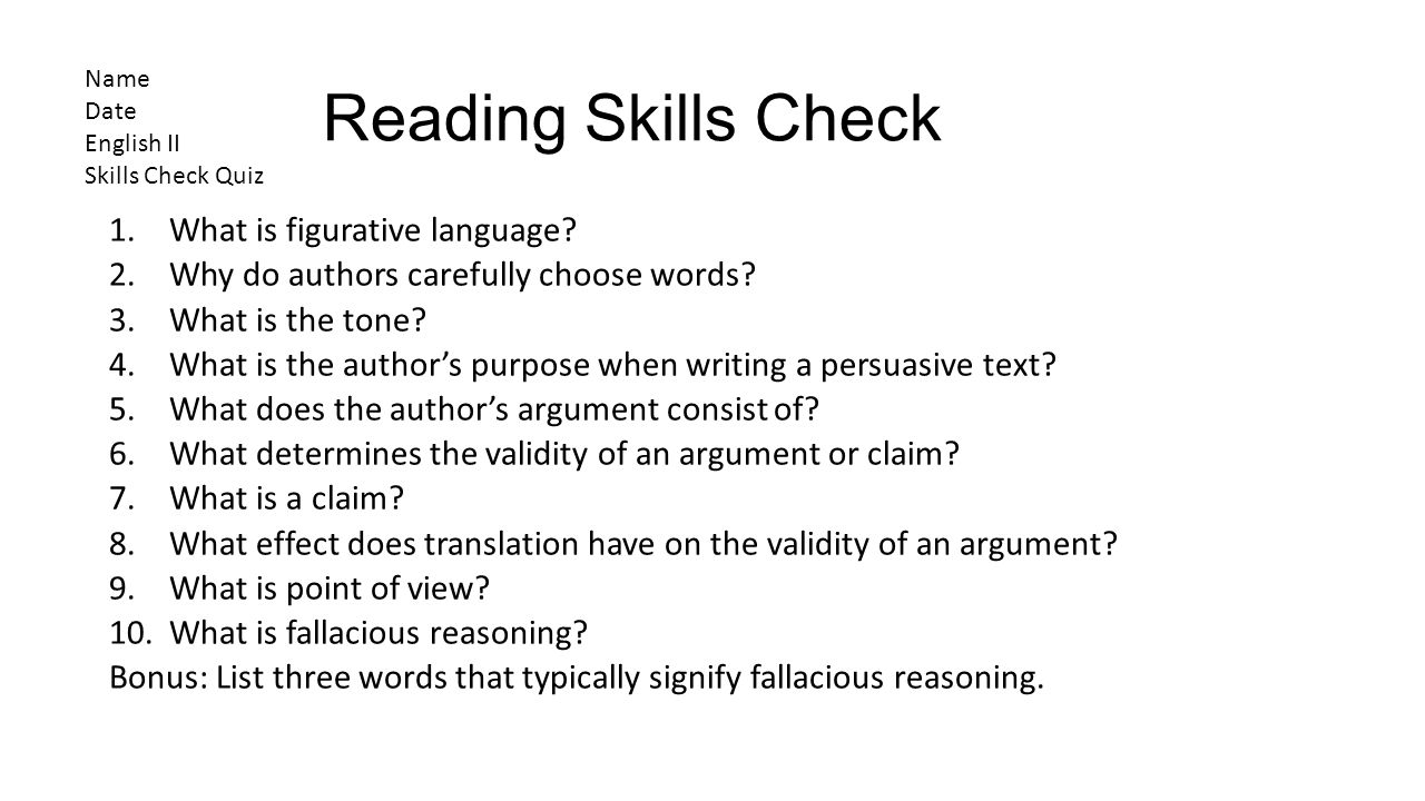 Reading Skills Check What is figurative language