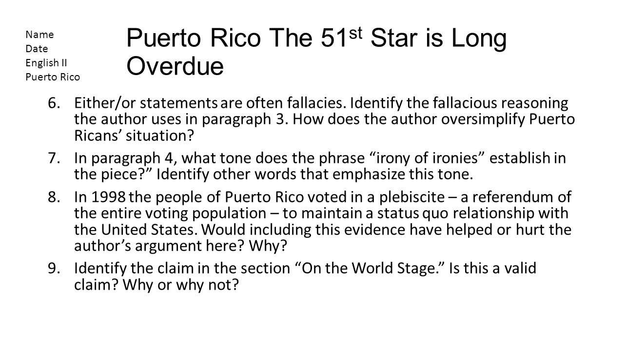 Puerto Rico The 51st Star is Long Overdue