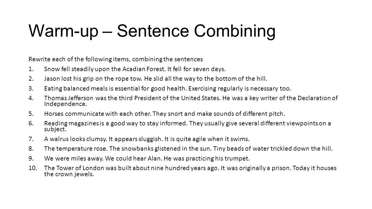 Warm-up – Sentence Combining