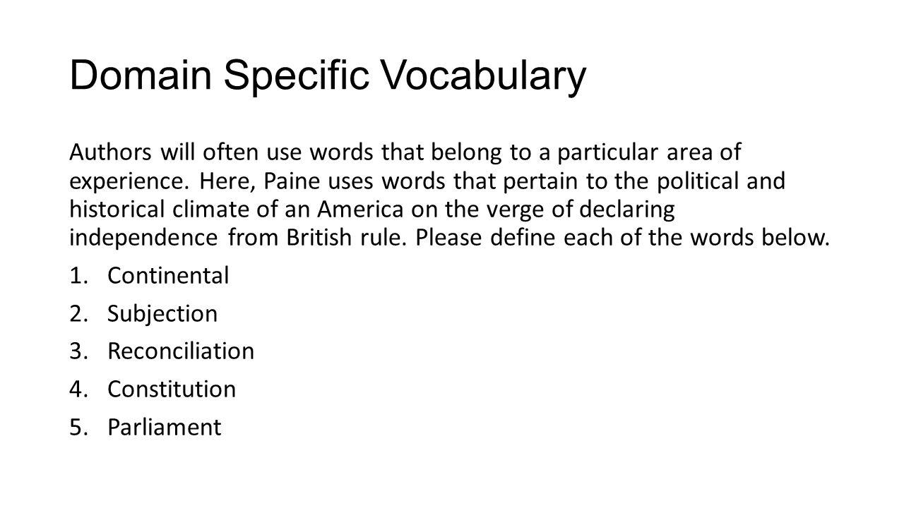 Domain Specific Vocabulary