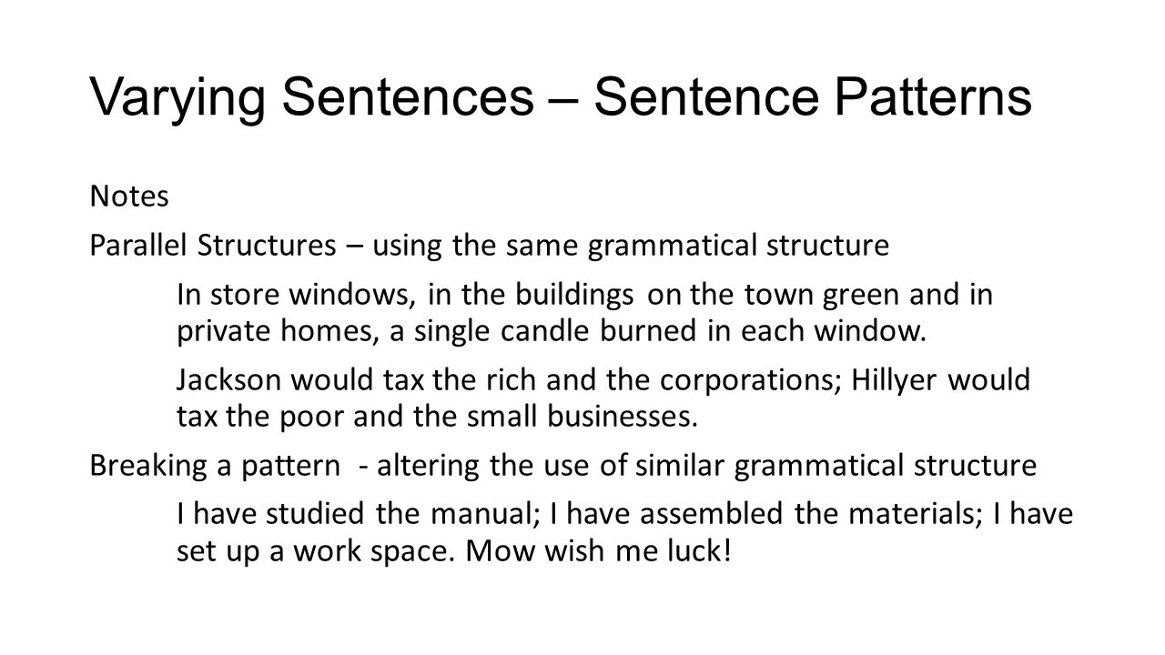 Varying Sentences – Sentence Patterns