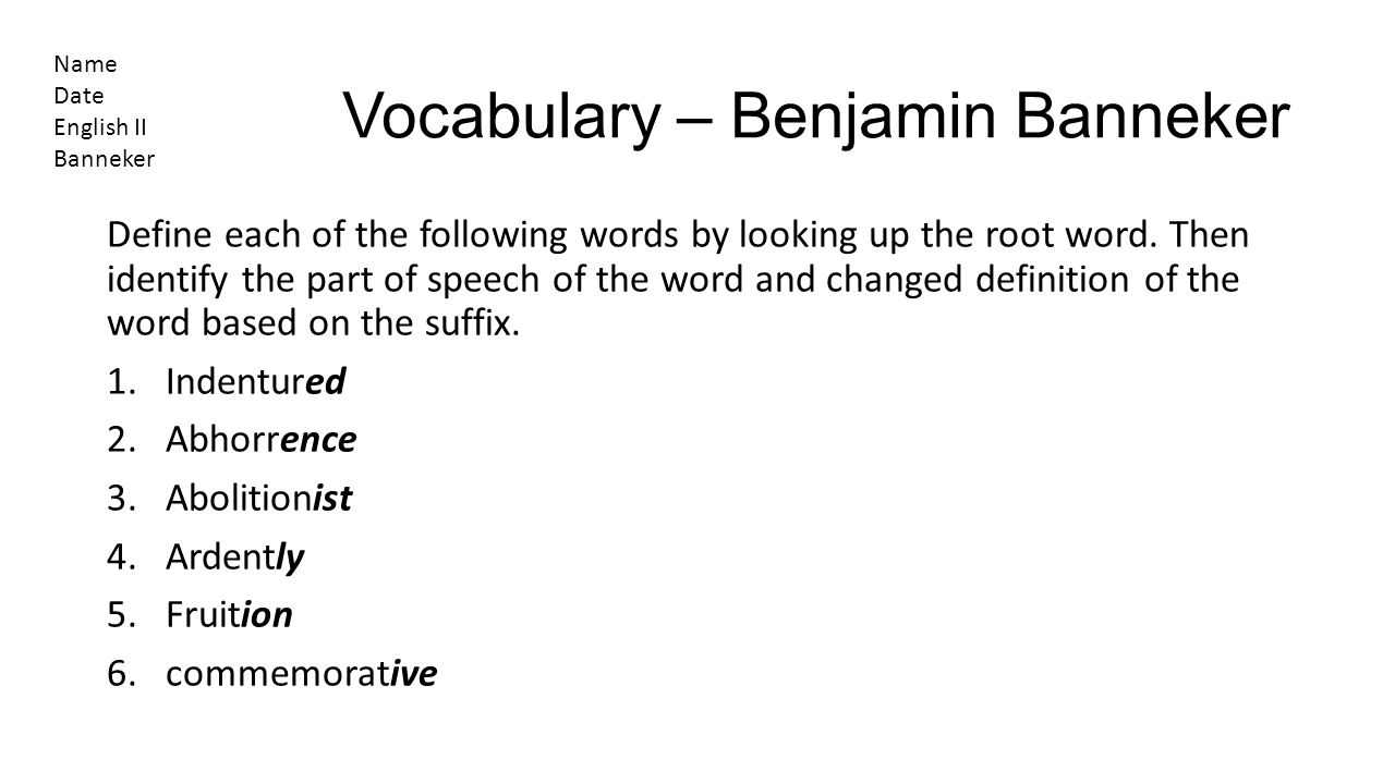 Vocabulary – Benjamin Banneker
