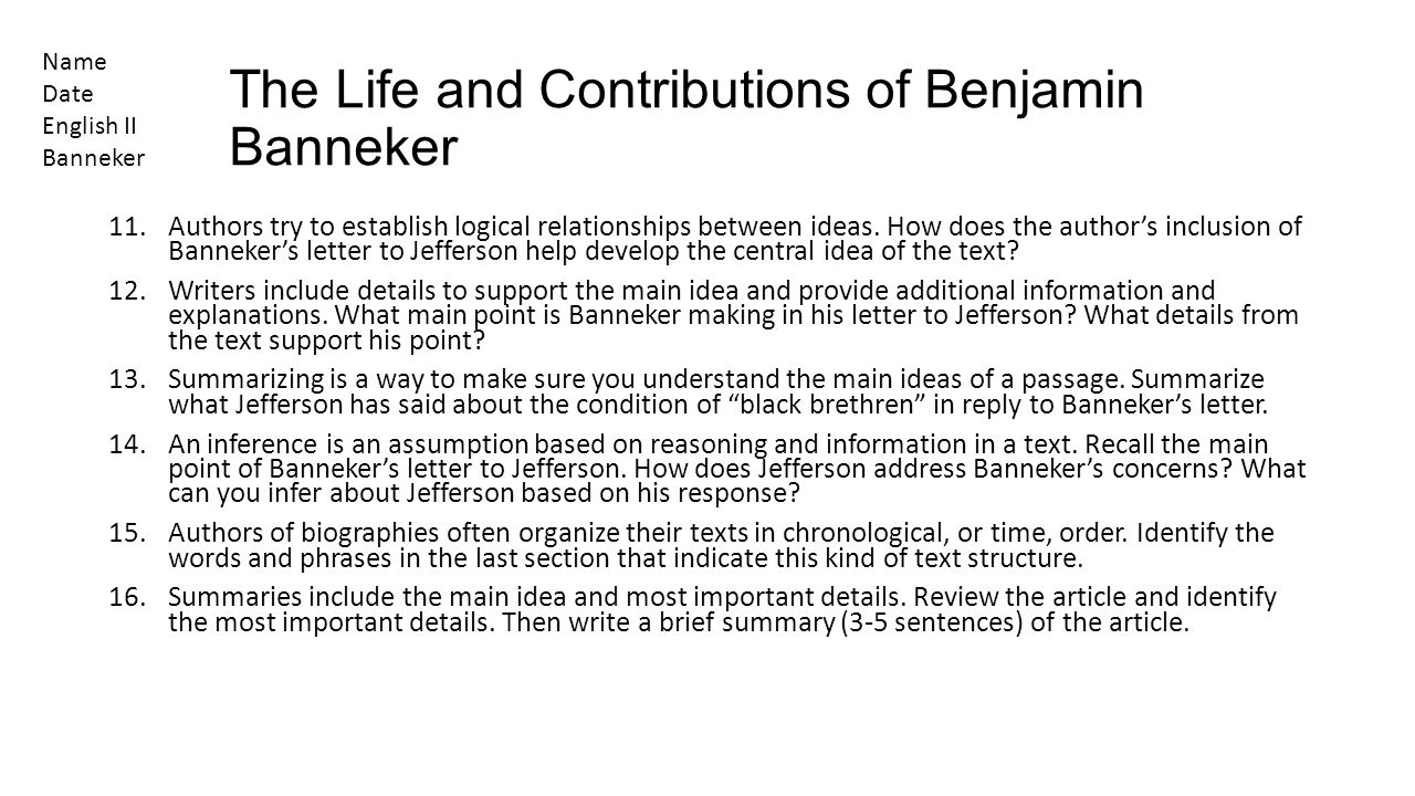 The Life and Contributions of Benjamin Banneker