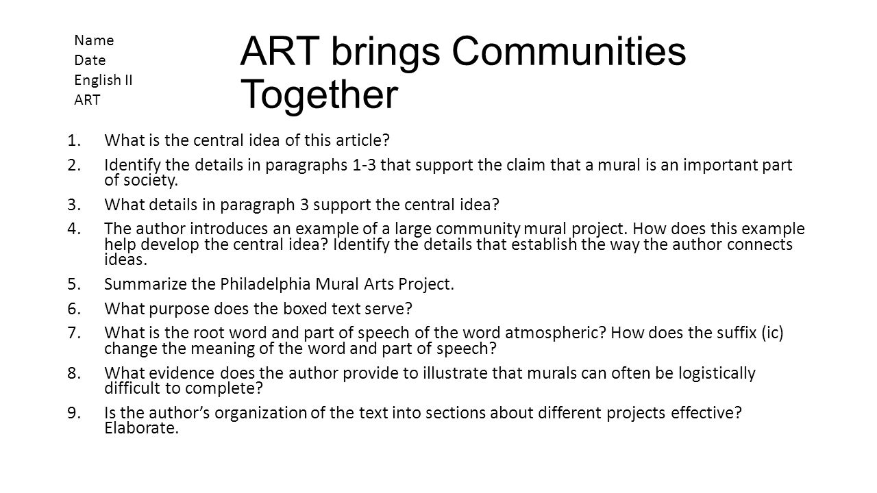 ART brings Communities Together