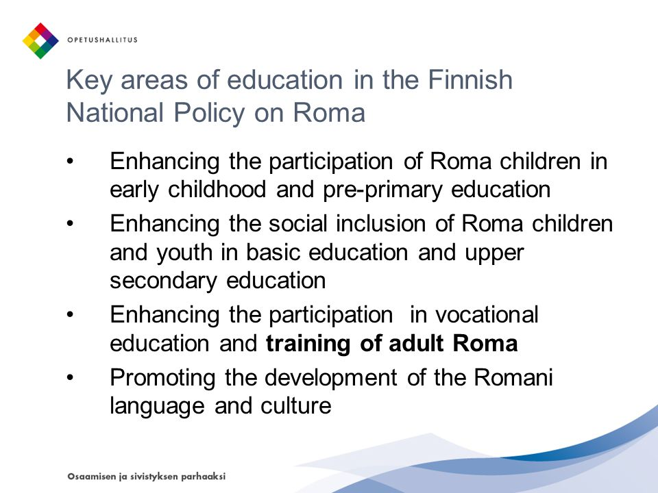 Key areas of education in the Finnish National Policy on Roma