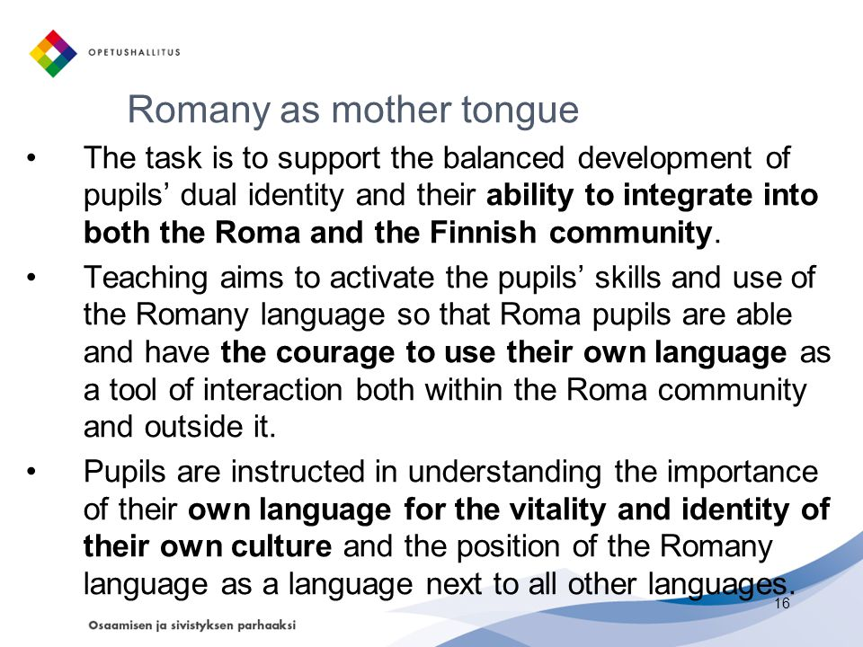Romany as mother tongue
