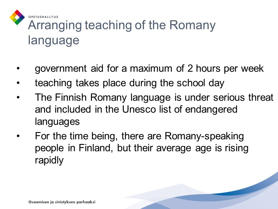 Arranging teaching of the Romany language