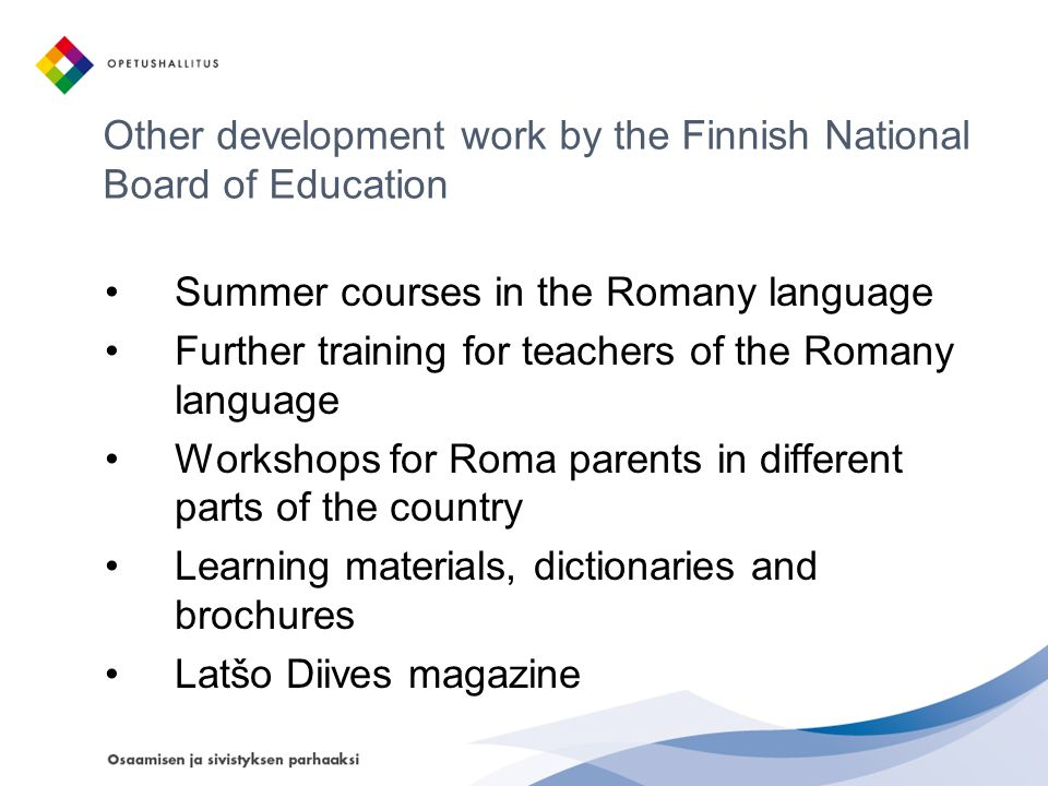 Other development work by the Finnish National Board of Education