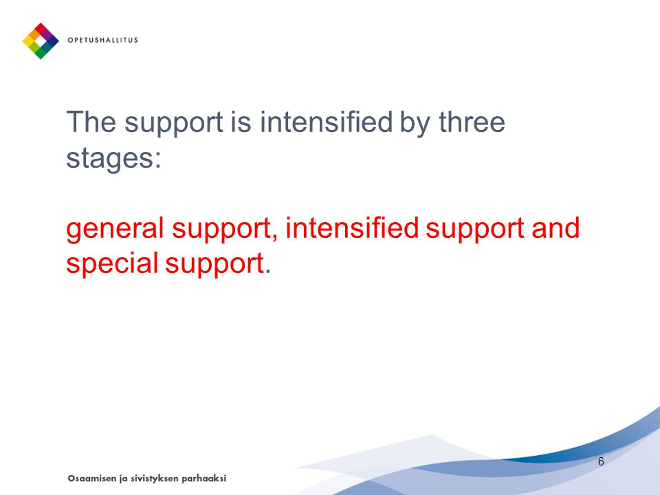 The support is intensified by three stages: general support, intensified support and special support.