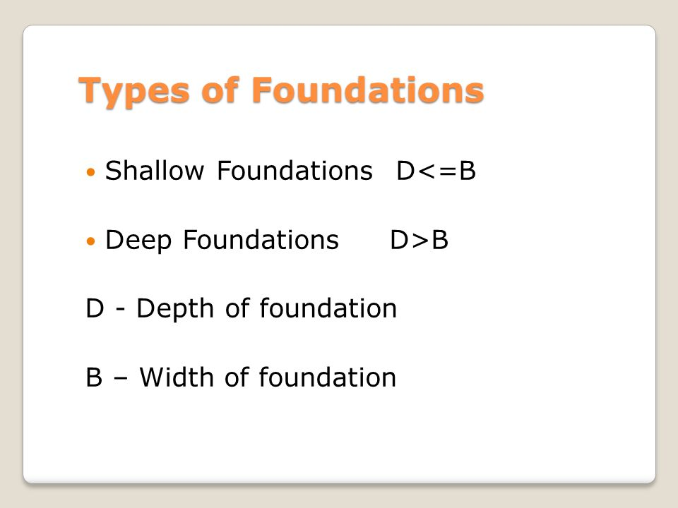Types of Foundations Shallow Foundations D<=B