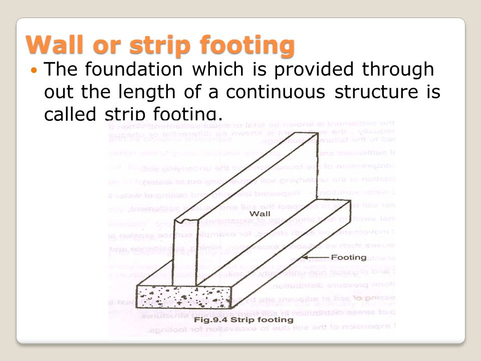 Wall or strip footing The foundation which is provided through out the length of a continuous structure is called strip footing.