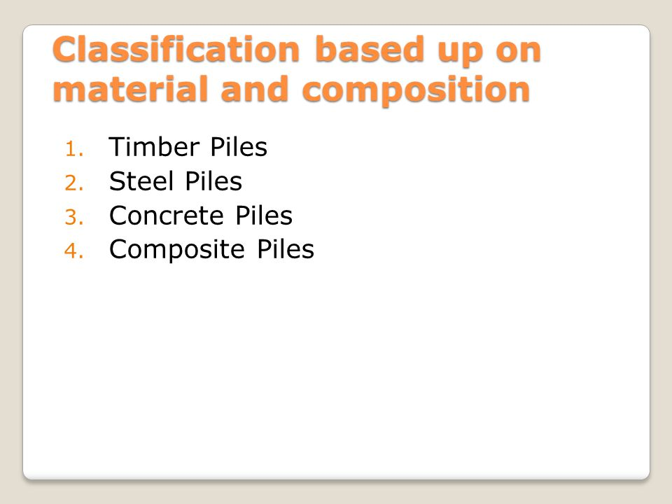 Classification based up on material and composition
