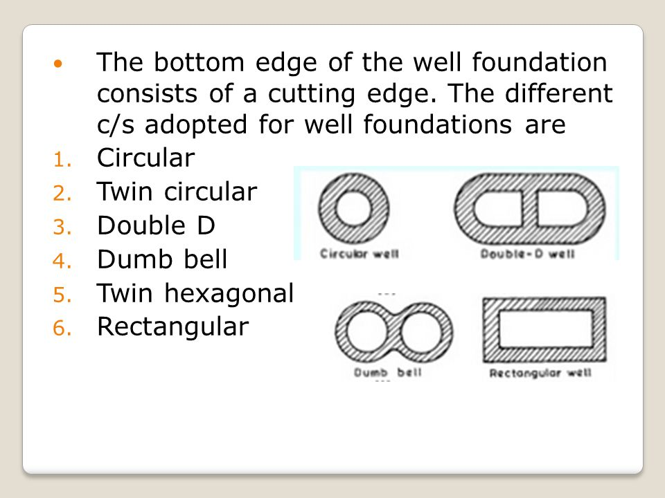 The bottom edge of the well foundation consists of a cutting edge
