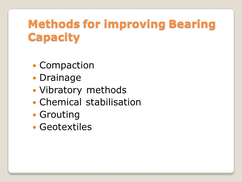 Methods for improving Bearing Capacity