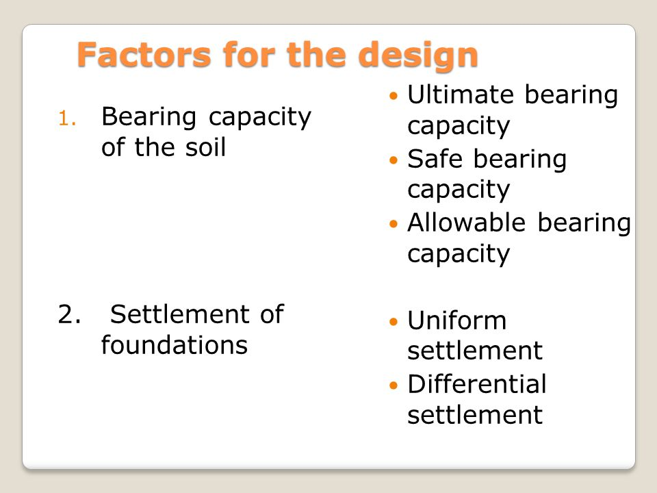 Factors for the design Ultimate bearing capacity