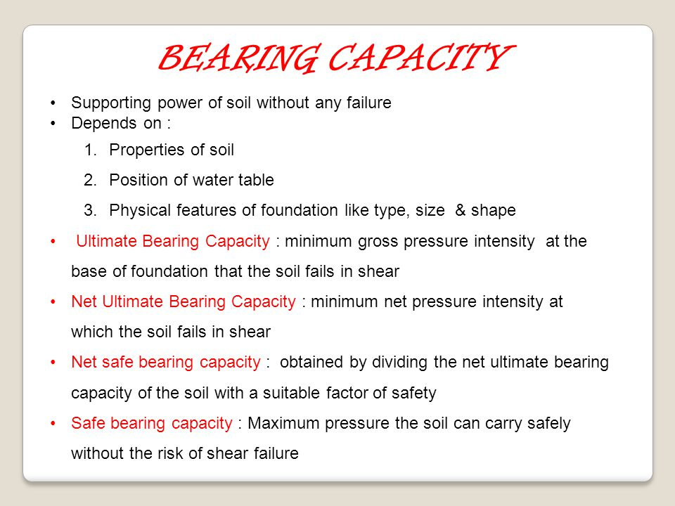 BEARING CAPACITY Supporting power of soil without any failure