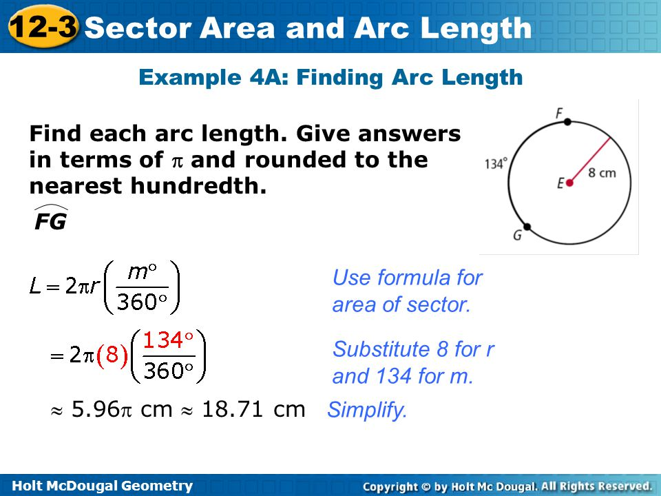 how to find arc area