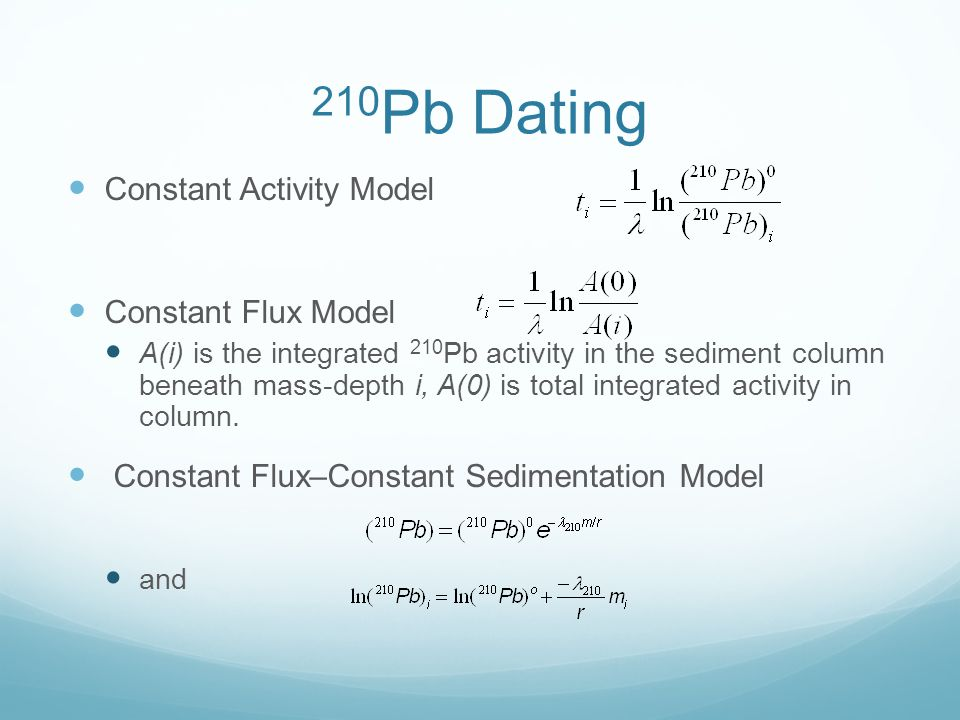 Dating of Sediments using Lead-210