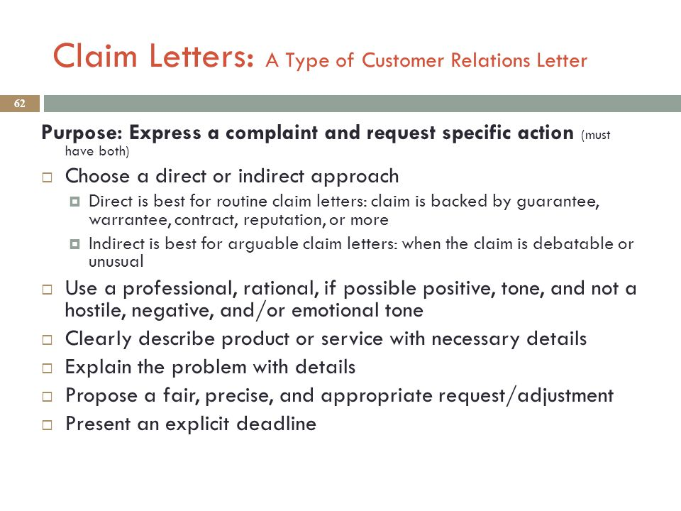 Business english lecture 30 eng 554 ppt download claim letters a type of customer relations letter spiritdancerdesigns Choice Image