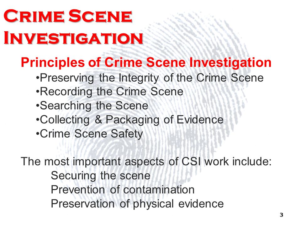perserving the crime scene Evidence collection and preservation are extremely important to the crime scene process.