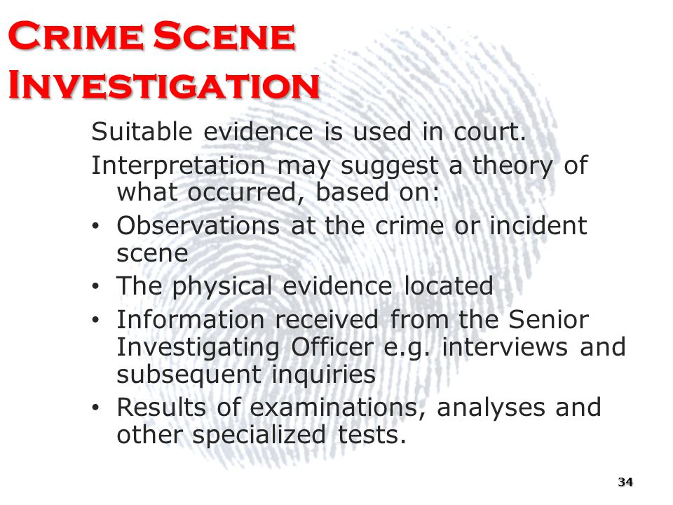 the purpose of a crime scene investigation The purpose of crime scene investigation is to help establish what happened (crime scene reconstruction) and to identify the responsible person this is done by.