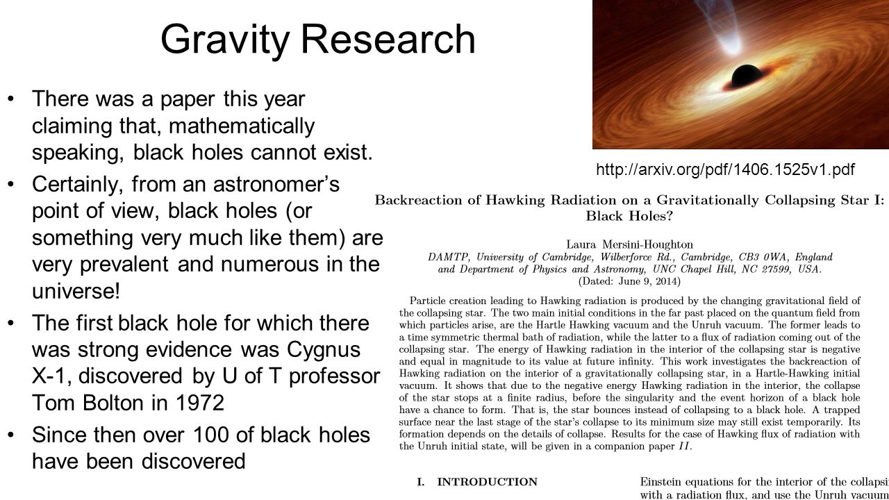 research paper on gravity Gravity and falling objects record their thoughts on the board or on a piece of chart paper, so that you can return to them later 2 galileo conducted several experiments and concluded that the effect of gravity on earthly objects is the same.