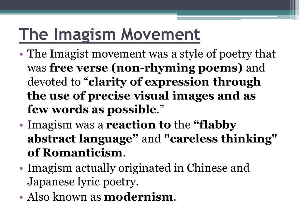 The Imagism Movement