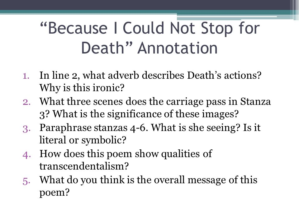 Because I Could Not Stop for Death Annotation