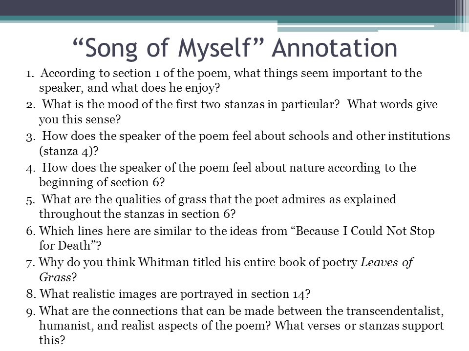 Song of Myself Annotation