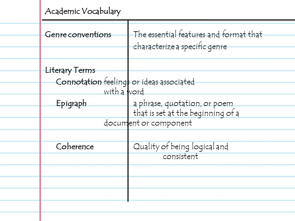 Academic Vocabulary Genre Conventions The Essential Features And