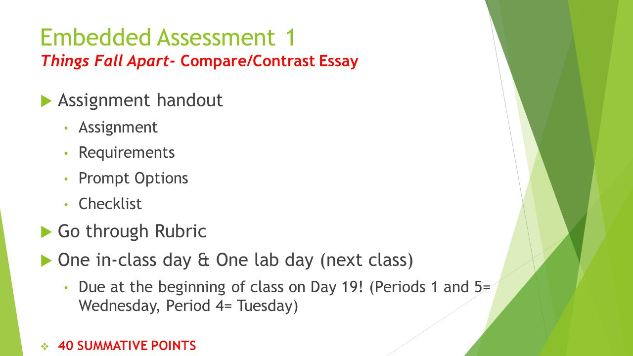 day english ppt video online  embedded assessment 1 things fall apart compare contrast essay