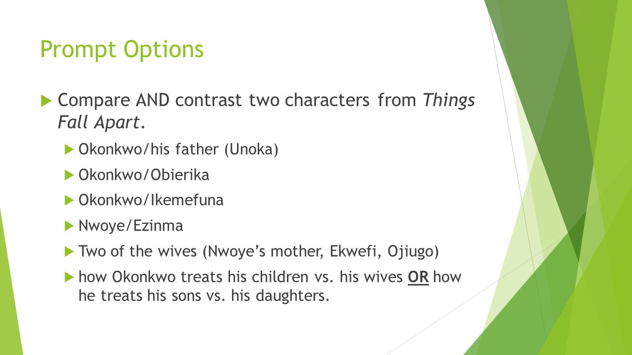Compare and contrast okonkwo and unoka essay