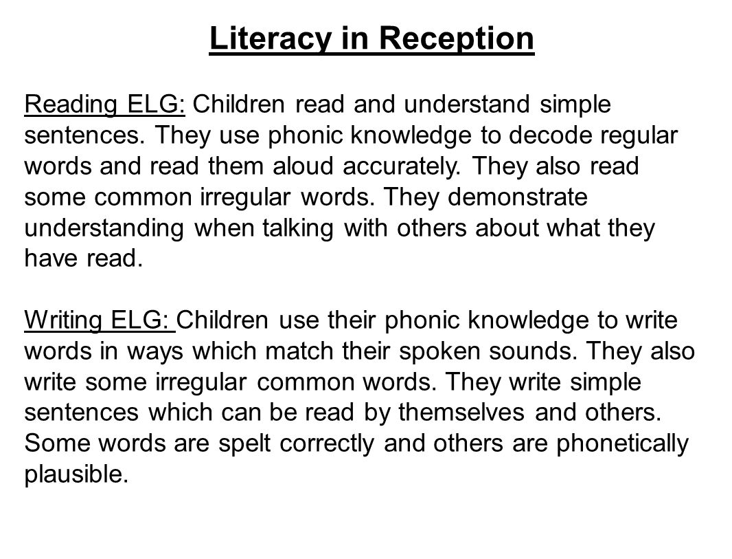 Worksheets Phonic Sentences literacy in reception reading elg children read and understand 1 literacy