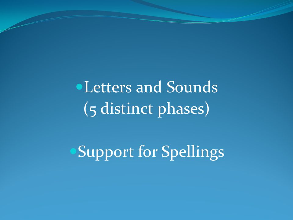 Letters and Sounds (5 distinct phases) Support for Spellings