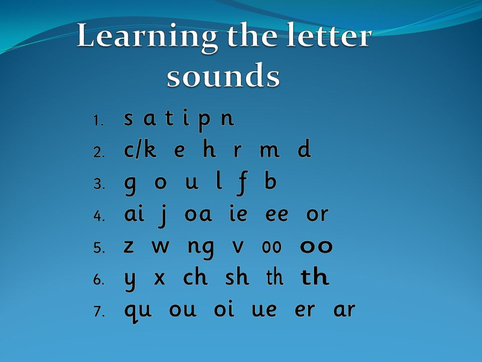 Learning the letter sounds