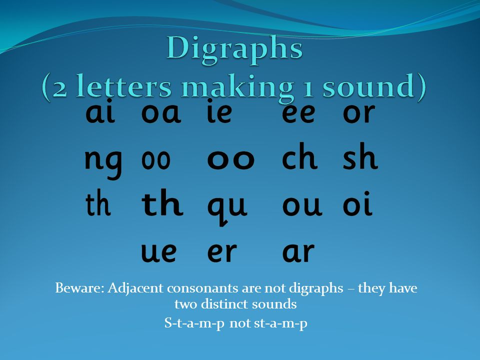 Digraphs (2 letters making 1 sound)
