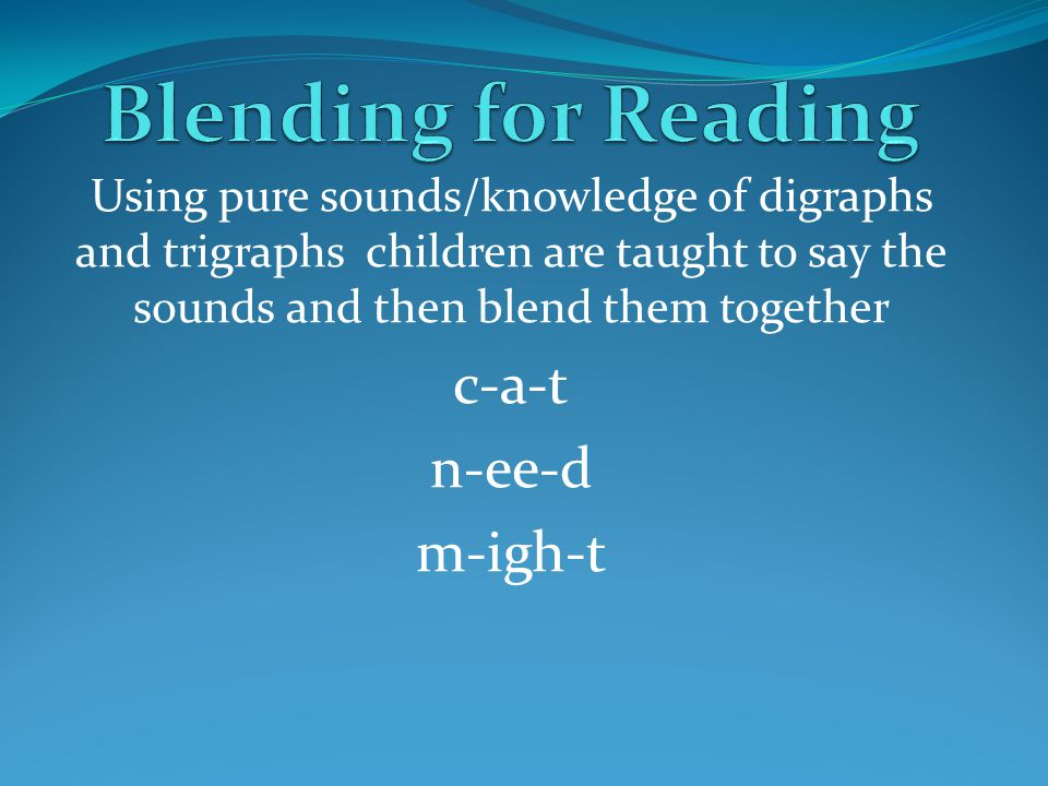 Blending for Reading c-a-t n-ee-d m-igh-t