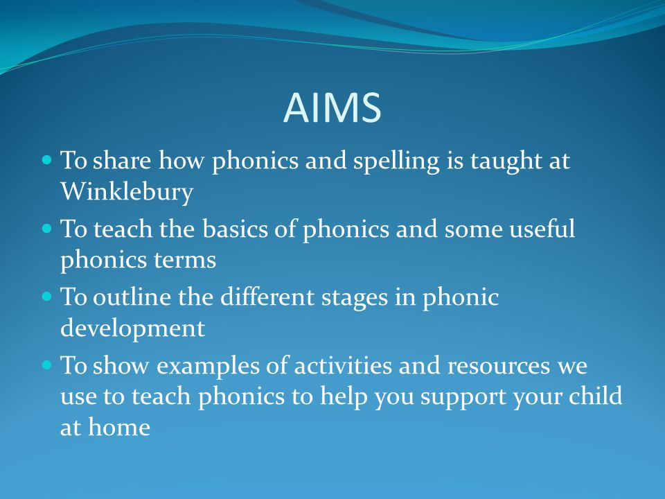 AIMS To share how phonics and spelling is taught at Winklebury
