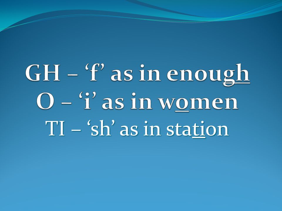 GH – 'f' as in enough O – 'i' as in women