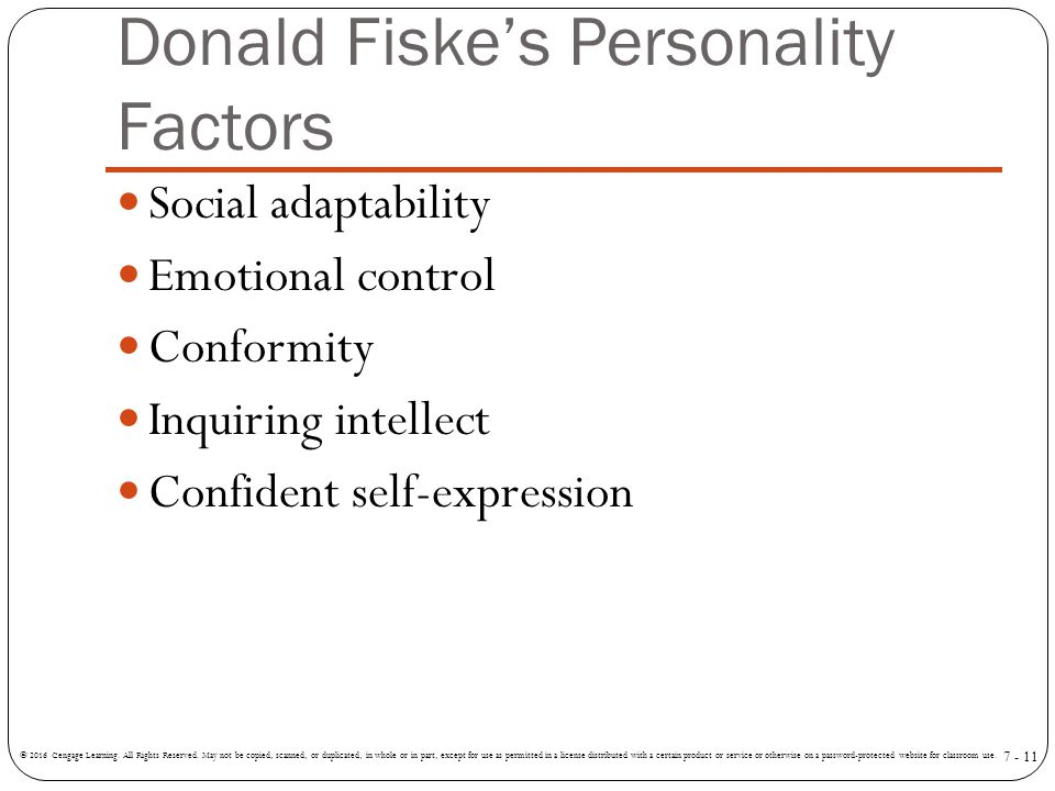 personality factors Validity of observer ratings of the big five personality factors michael k mount , murray r barrick, and j perkins strauss the authors examined the validity of.