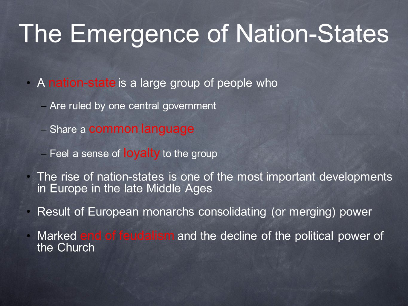 The Emergence of Nation-States