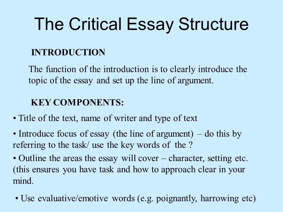 critical essay introduction In this lesson, you will learn about the purpose and format of a critical response essay this is followed by an example of how the structure of.