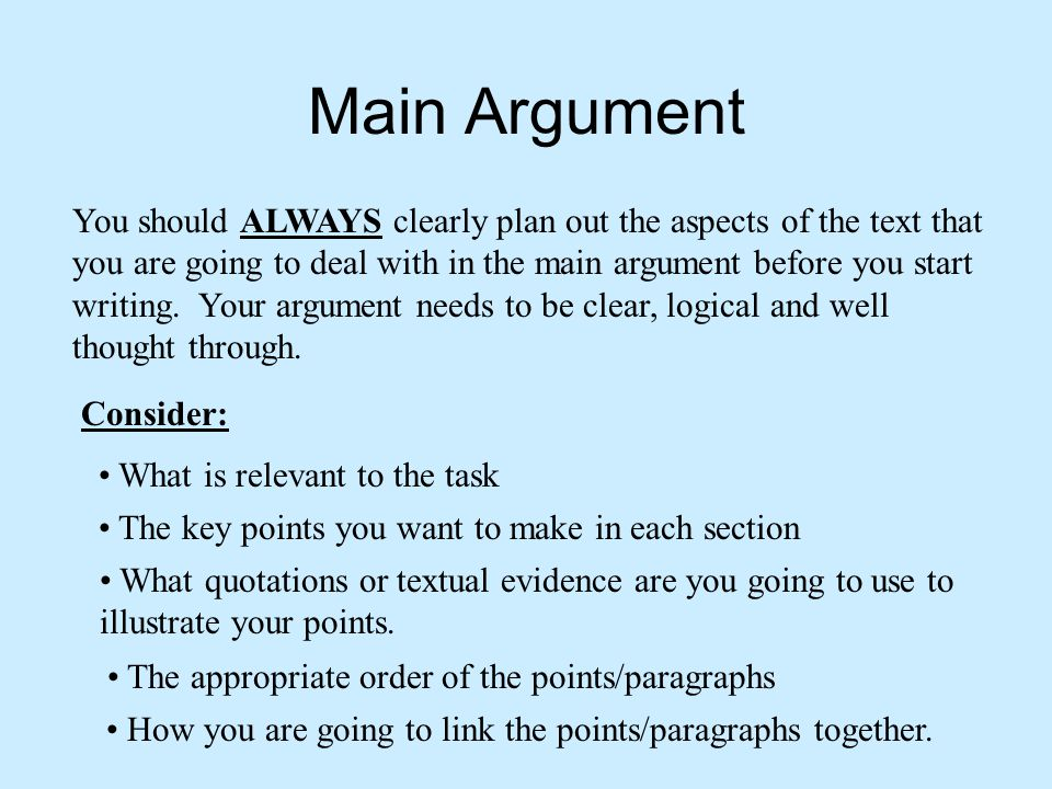 how to know the main argument of the text