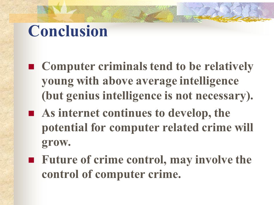 conclusion to crime Conclusion about alcohol and violent crimes in the united states from the bureau  of justice statistics.