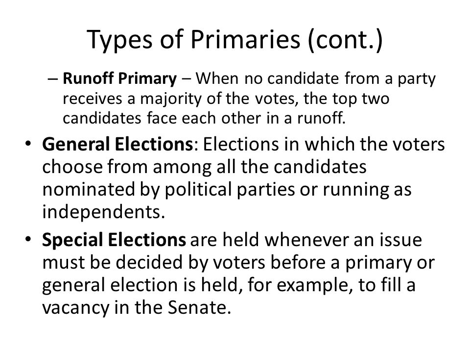 Runoff Primary Election